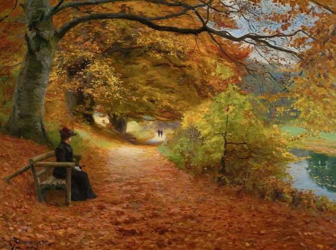 H._A._Brendekilde_-_A_wooded_path_in_autumn_(1902)
